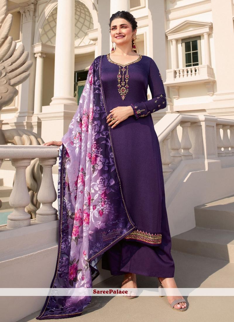 Prachi Desai Purple Designer Palazzo Suit