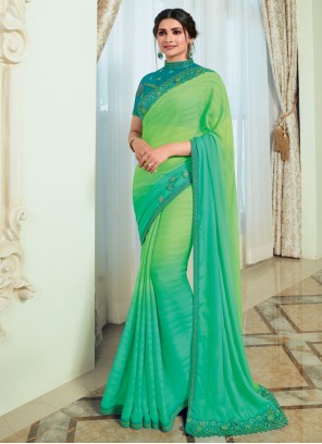 Prachi Desai Vichitra Silk Embroidered Shaded Saree