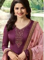 Prachi Desai Wine Faux Georgette Churidar Designer Suit