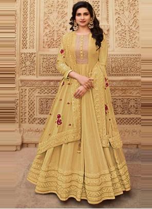 Prachi Desai Yellow Floor Length Anarkali Suit