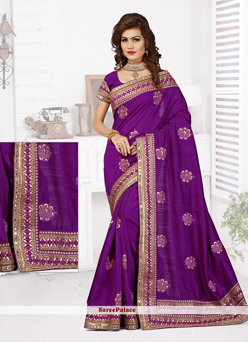 Praiseworthy Bhagalpuri Silk Purple Patch Border Work Designer Traditional Saree