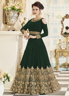 Praiseworthy Zari Work Faux Georgette Floor Length Anarkali Suit