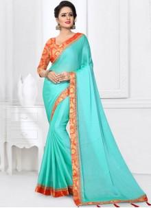 Precious Blue Satin Silk Printed Saree