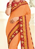 Precious Faux Chiffon Orange Classic Designer Saree