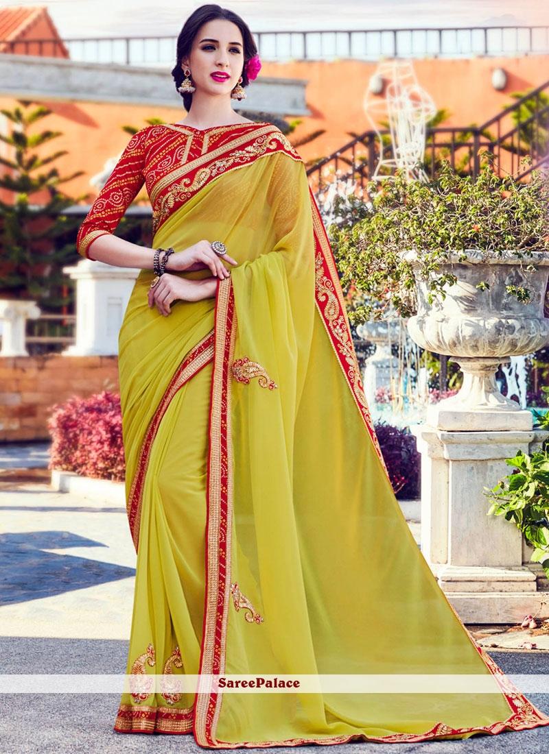 Precious Faux Georgette Green Classic Designer Saree