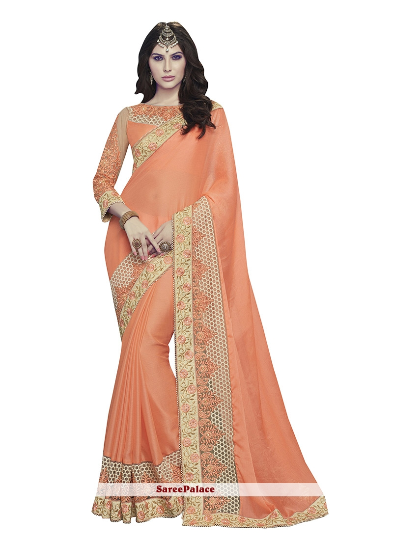 Precious Patch Border Work Orange Classic Designer Saree