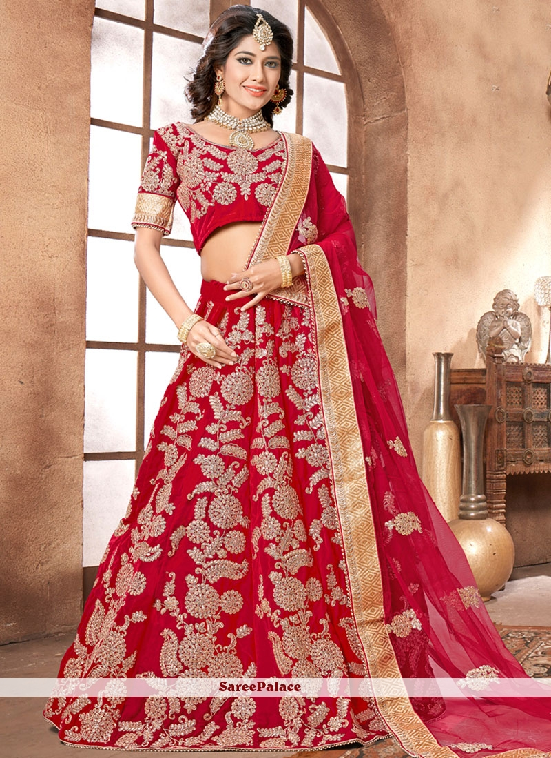 Precious Velvet Red Lehenga Choli