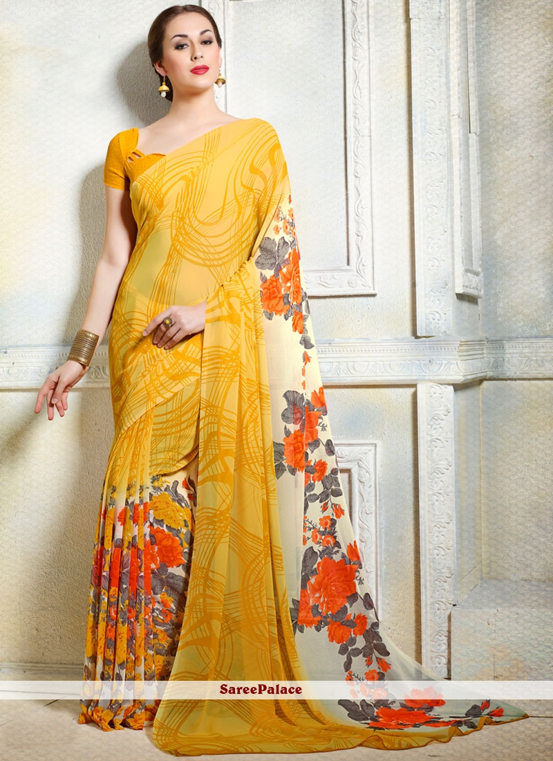 Preferable Faux Georgette Yellow Print Work Printed Saree