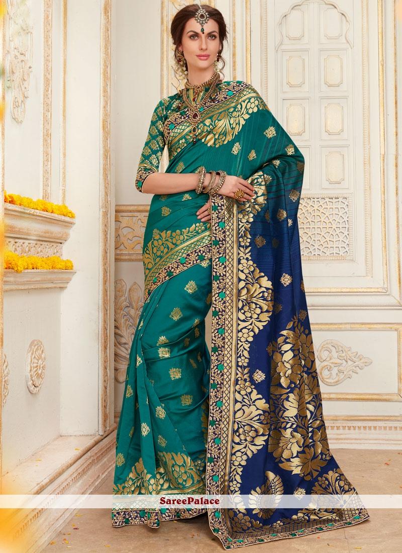 Preferable Resham Work Jacquard Silk Designer Traditional Saree