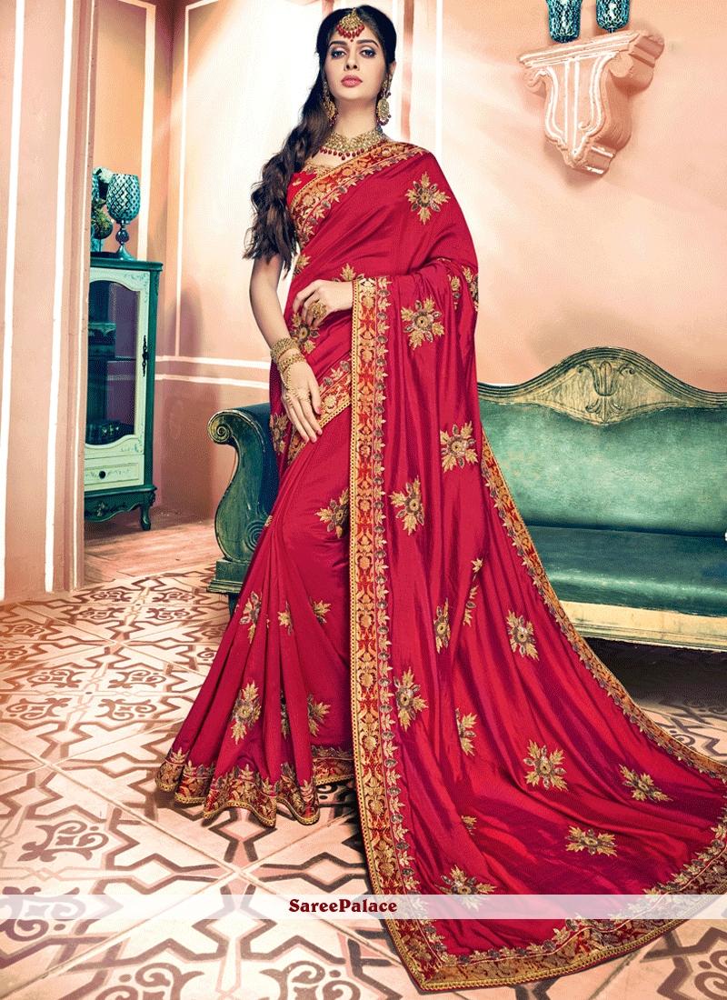 Prepossessing Embroidered Work Art Silk Traditional Designer Saree