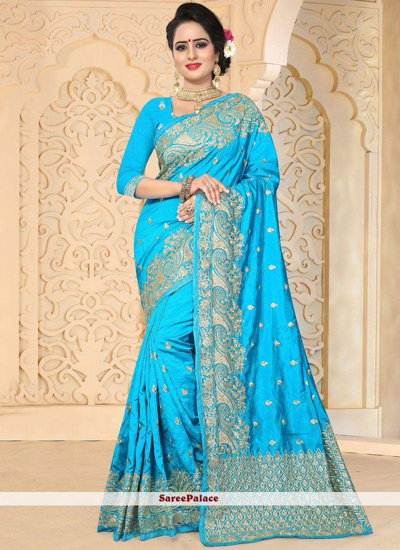 6b30909fe4 Buy Prepossessing Firozi Embroidered Work Art Silk Designer Traditional  Saree Online