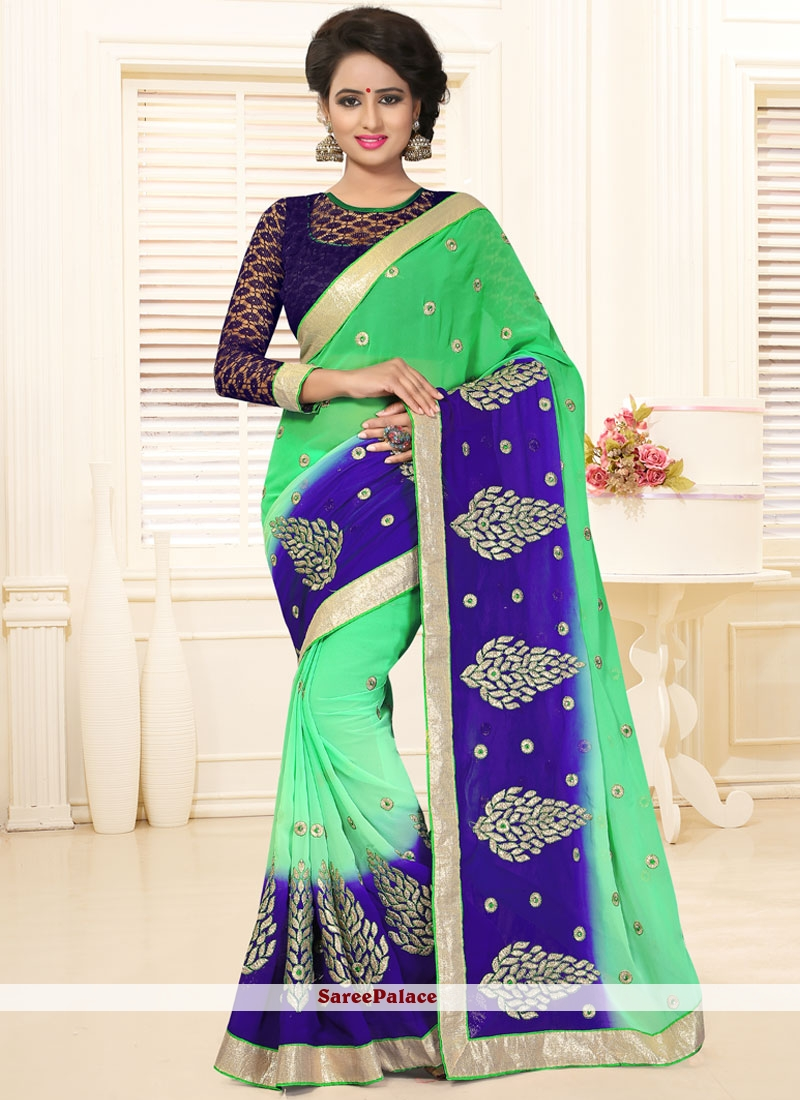 Pretty Blue and Green Embroidered Work Faux Georgette Designer Saree