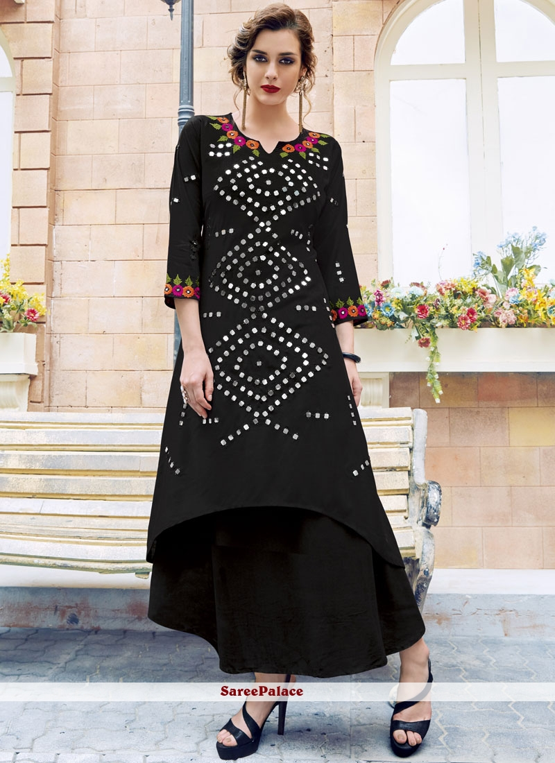 Pretty Print Work Black Rayon Party Wear Kurti