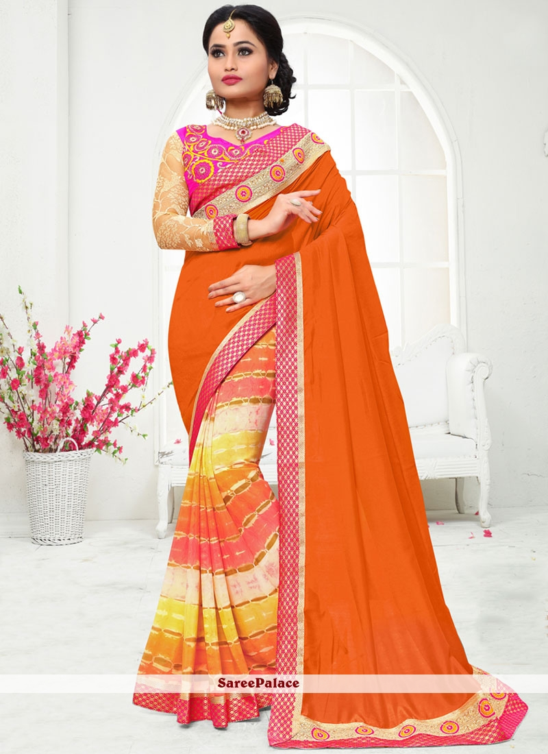 Prime Art Silk Orange Print Work Printed Saree