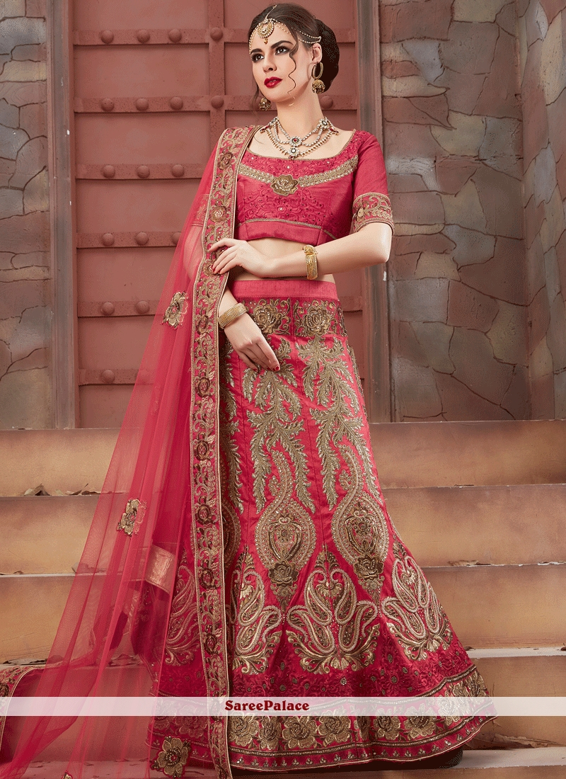 a80e322fea Buy Prime Art Silk Rose Pink Patch Border Work Lehenga Choli Online