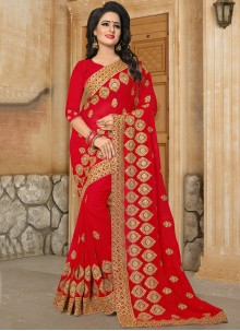 Prime Embroidered Work Georgette Classic Saree