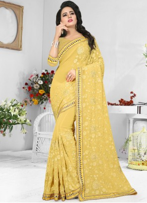 Prime Embroidered Work Yellow Saree