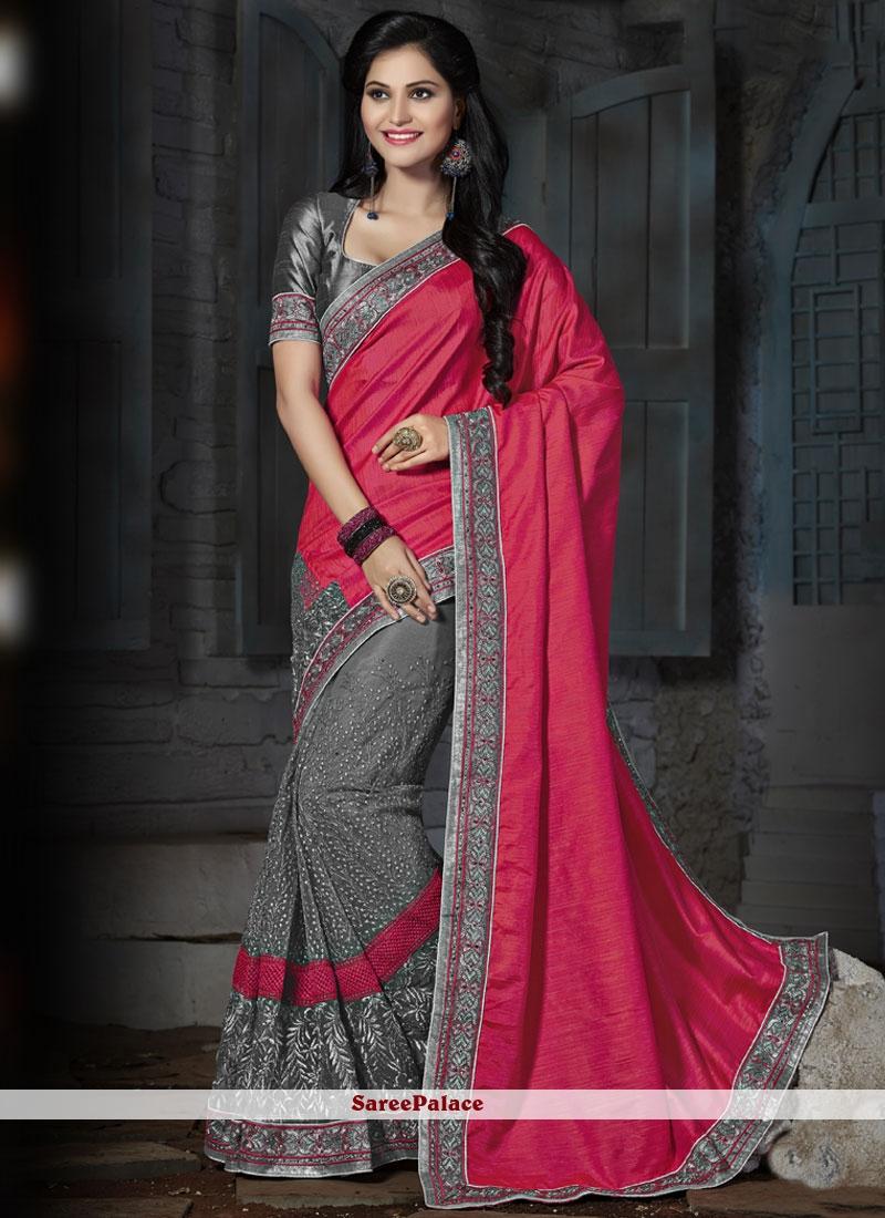 Prime Grey and Pink Embroidered Work Designer Half N Half Saree