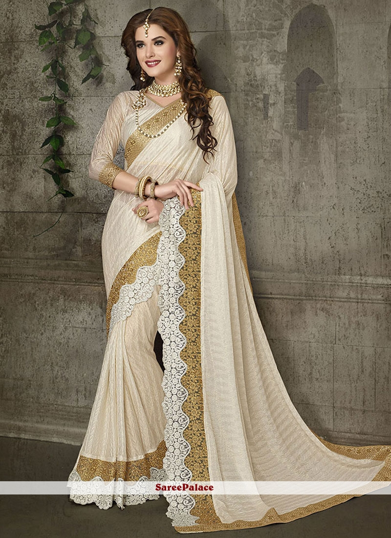 Prime Off White Patch Border Work Lycra Classic Designer Saree