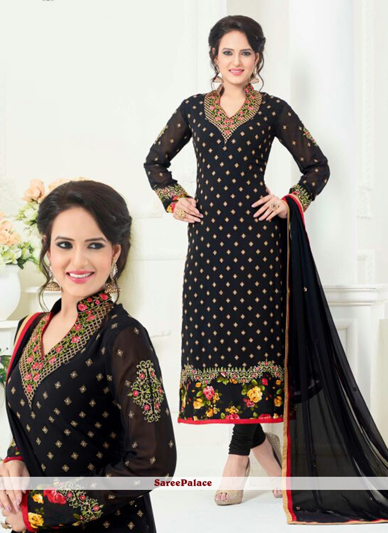Princely Faux Georgette Black Embroidered Work Churidar Designer Suit