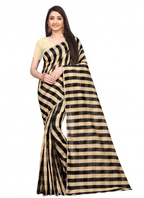 Print Art Silk Black Printed Saree