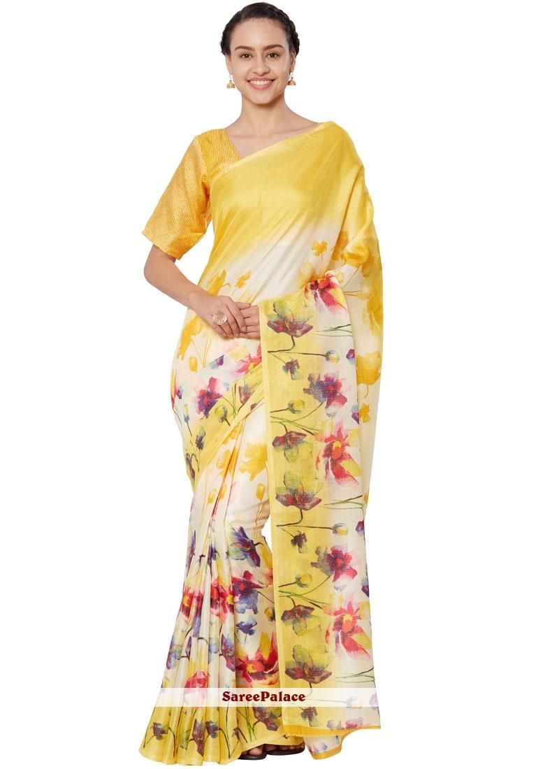 Print Art Silk Casual Saree in Yellow