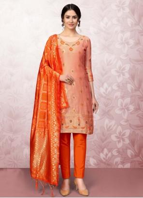 Print Banarasi Silk Churidar Designer Suit in Peach