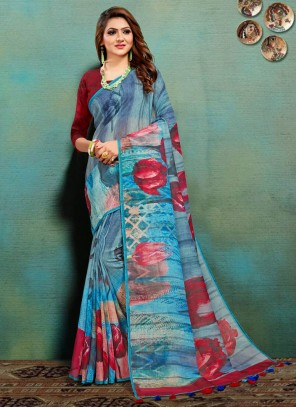 Print Banarasi Silk Multi Colour Traditional Saree
