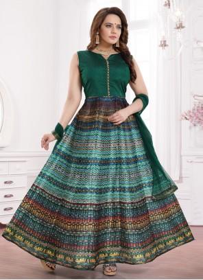 Print Banglori Silk Green Readymade Gown