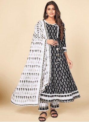 Print Black and Off White Cotton Anarkali Suit