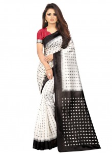 Print Black and Off White Silk Traditional Saree