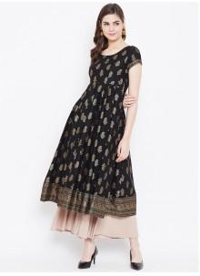 Print Black Cotton Designer Kurti