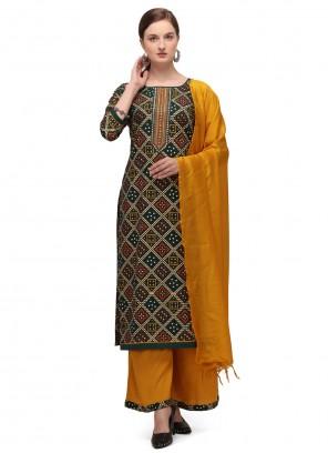 Print Blended Cotton Multi Colour Designer Palazzo Suit