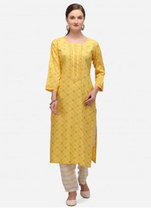 Print Blended Yellow Cotton Party Wear Kurti