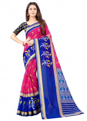 Print Blue and Pink Cotton Saree For Festival
