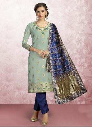 Print Blue Churidar Designer Suit