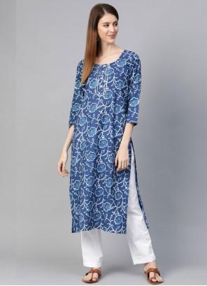 Print Blue Cotton Party Wear Kurti