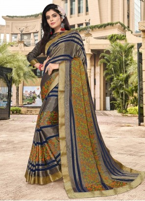 Print Brasso Trendy Saree in Multi Colour