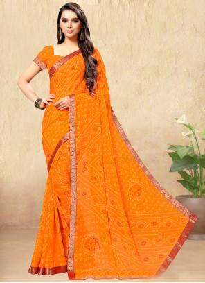 Print Orange Casual Saree