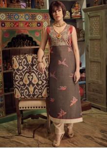 Print Chanderi Cotton Party Wear Kurti in Multi Colour