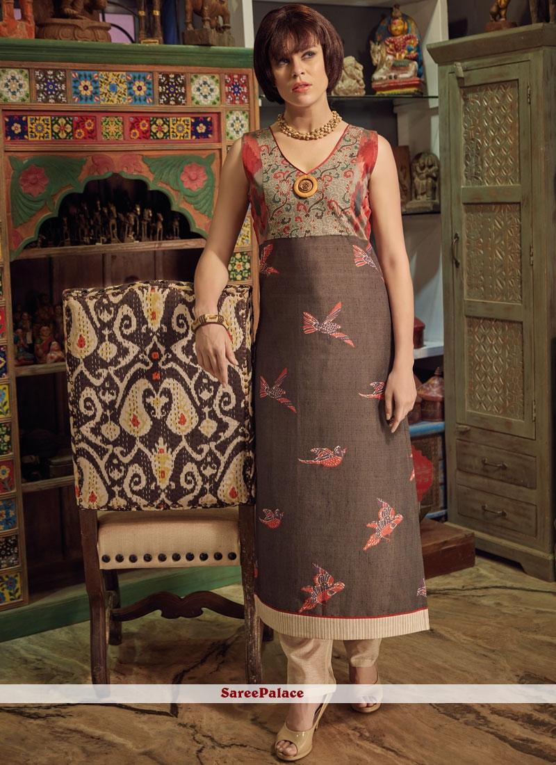 24937f7e9 Buy Print Chanderi Cotton Party Wear Kurti in Multi Colour Online