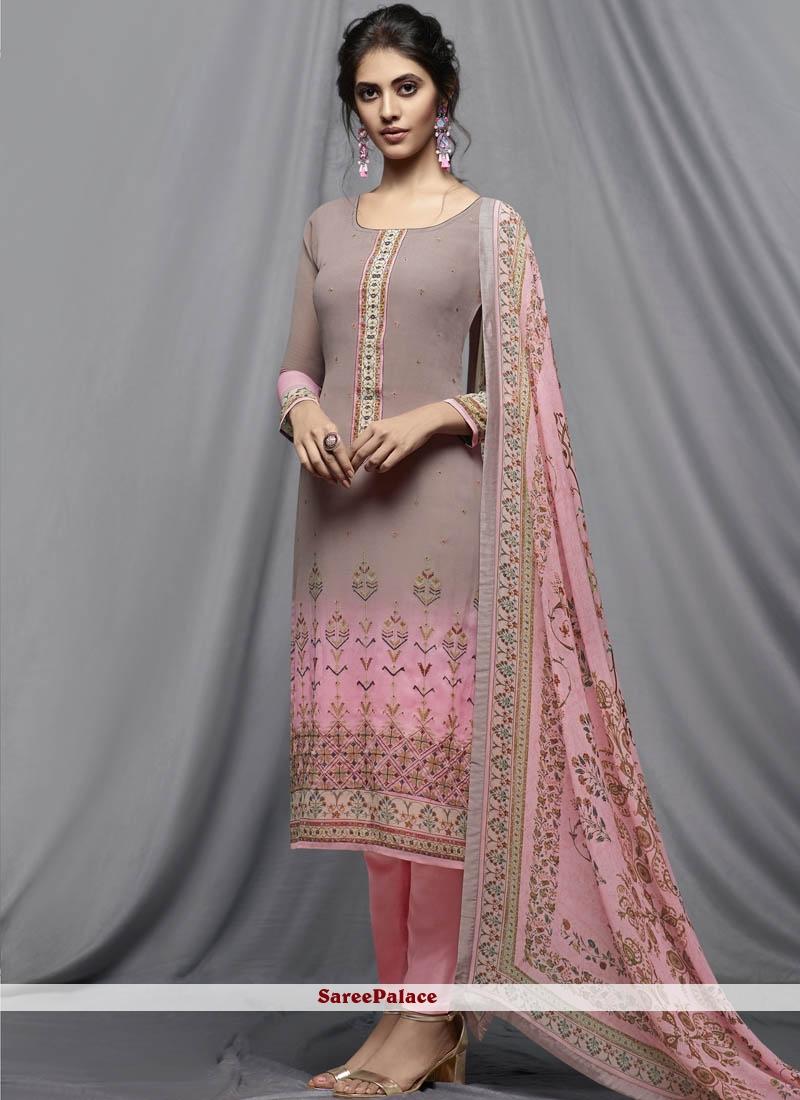 Pink Print Churidar Designer Suit