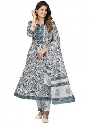 Off White And Blue Print Cotton Anarkali Suit