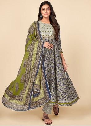 Print Cotton Blue Anarkali Suit