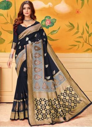 Print Cotton Casual Saree in Black