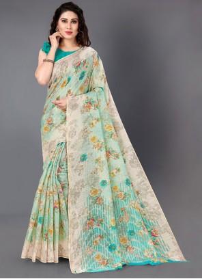 Print Cotton Casual Saree in Multi Colour