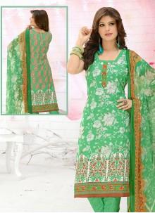 Green Print Cotton Churidar Suit