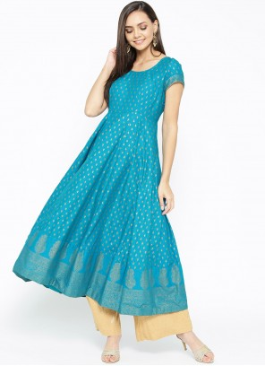 Print Cotton Turquoise Designer Kurti