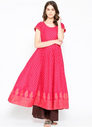 Print Cotton Hot Pink Designer Kurti