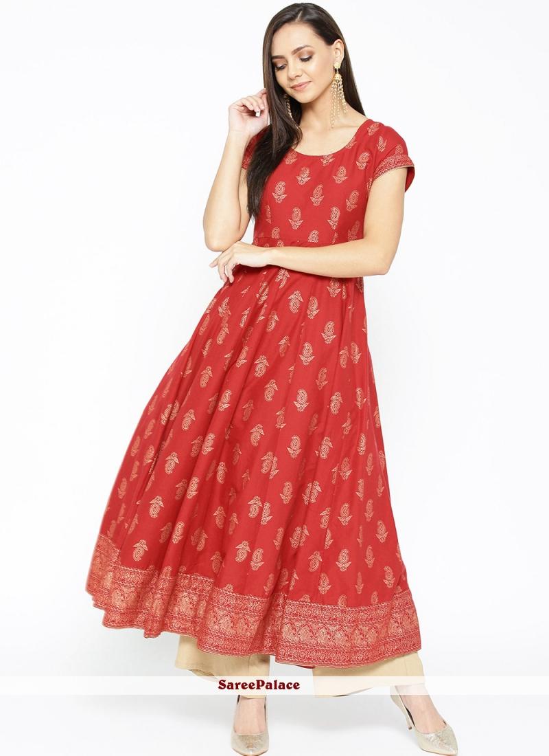 Red Print Cotton Designer Kurti